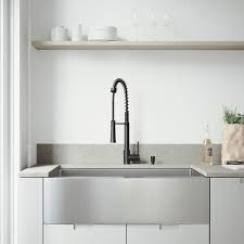 black faucet with stainless steel sink vigo all in one farmhouse stainless steel 36 in single bowl kitchen