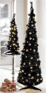 6ft black slim pop up decorated tree pre lit led lights