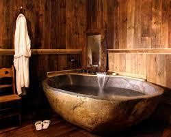 Wood Bathtubs Bathroom Awesome Rustic Bathroom With Oval Brown Wood Bathtub