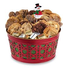 holiday cookie gifts red lattice metal basket carolina cookie