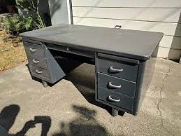 Steelcase Desk Vintage 1 Vintage Mid Century Metal Tanker Steelcase Office Desk 150 00