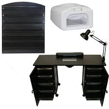 deluxe vented manicure nail station led dryer wall mount rack