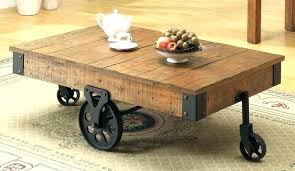 Industrial Rustic Coffee Table Rustic Coffee Table On Wheels Raunsalon