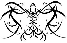 lack ink cross tribal libra scales tattoo design over white