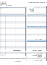 contractor invoice template free download for excel pdf