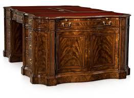 flame walnut and rosewood serpentine partners desk pedestal desks