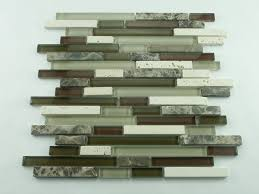 cappuccino stone tile and glass mix linear mosaic tile kitchen