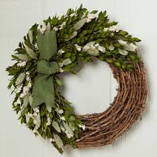 welcoming white larkspur spring wreath for door or wall
