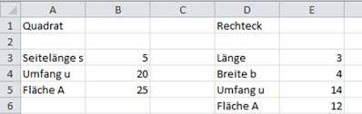 rechteck fläche berechnen course tabellenkalkulation 2