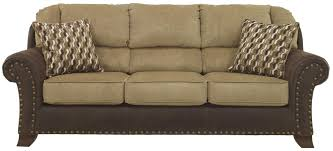 Accent Pillows For Brown Sofa by Benchcraft Vandive Two Tone Sofa With Chenille Fabric Faux Leather
