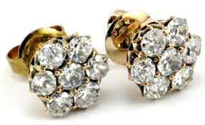 diamond stud earrings sale 14ct yellow gold made cluster cut diamond stud