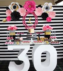 30th birthday party ideas black white pink and a golden birthday party ideas black