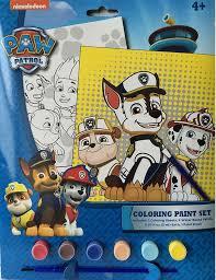amazon com paw patrol coloring paint set includes 2 coloring