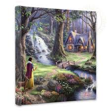 kinkade disney dreams collection snow white discovers the cottage