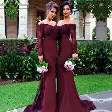 aliexpress com buy off shoulder burgundy bridesmaid dresses