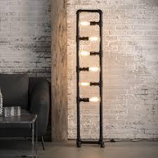 Standleuchten Wohnzimmer Beleuchtung Industrie Lampe Rohr Stehleuchte Schwarz Im Industriedesign