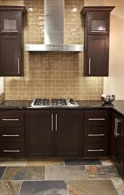 Kitchen Backsplash Ideas For Dark Cabinets Kitchen Cabinets American Cherry Glass Subway Tile Backsplash