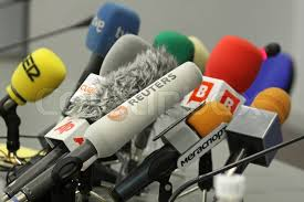 Football Conference Table Microphones On A Table During Press Conference Before Uefa