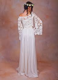 two wedding dresses boho lace top silk chiffon skirt dreamers and