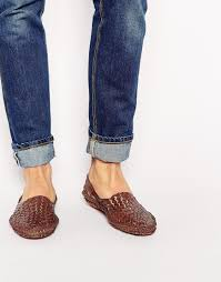 asos woven sandals in leather in brown for men lyst