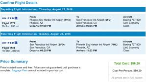 united airlines round trip from phoenix arizona to san francisco