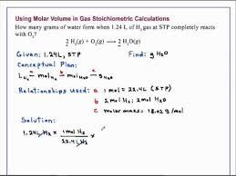 using molar volume in gas stoichiometric calculations chemistry
