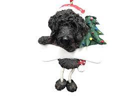 labradoodle ornament black with unique dangling legs