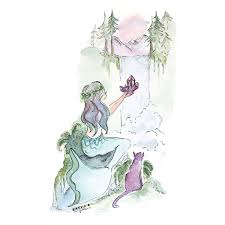 amethyst forest mermaid art print 5x7 seatail