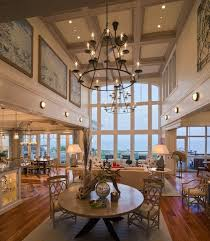 high ceiling recessed lighting best chandeliers for high ceilings living room beach style with high