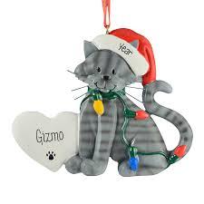 gray tabby cat wearing santa hat lights resin ornament