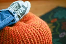 a tweed pouf ottoman an easy chunky knit flax u0026 twine