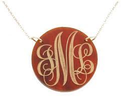 monogram necklace acrylic acrylic monogram necklace engraved disk pendant carolina clover