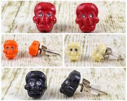 skull stud earrings skull stud earrings etsy