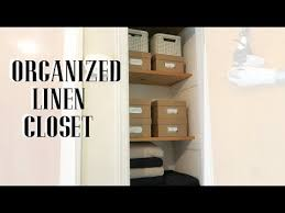 small linen closet organization youtube