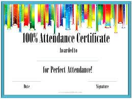 attendance award certificate templates perfect attendance award