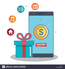 where can i buy a gift box buy now in the cellphone gift box app online vector illustration