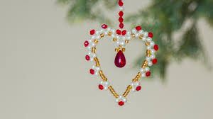 diy beaded heart christmas ornaments christmas decoration ideas