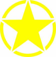 cj jeep yellow army star vinyl decal sticker usa military jeep willys cj wrangler