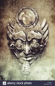 mask totem tattoo sketch handmade design over vintage paper