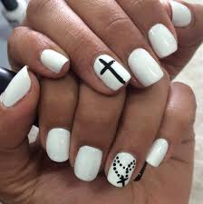 white mani with black cross nail art spring summer 2014 nail