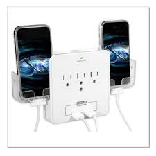 wall power station includes 3 ac plugs and 2 usb ports with surge