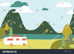 camping wooden tent bus vector illustration stock vector 135142523