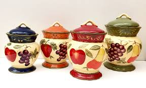 tuscan kitchen canisters tuscany garden colorful painted mixed fruit