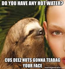 Tea Bag Meme - do you have any hot water cus deez nuts gonna teabag your face
