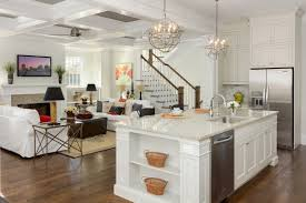 two island kitchen two mini silver steel cilcular kitchen cage chandelier over white