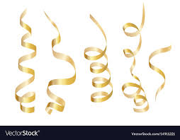curly ribbon set gold curly ribbon serpentine isolated on vector image
