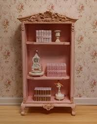 aged blush pink french provincial bookcase miniature dollhouse