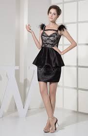 black sheath backless silk like satin short lace wedding