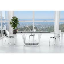 zuo winter polished stainless steel dining chair set of 2 100301