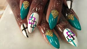 how to stiletto nail designs green jade part 1 youtube